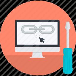 development, flat design, internet, link, optimization, seo, web icon