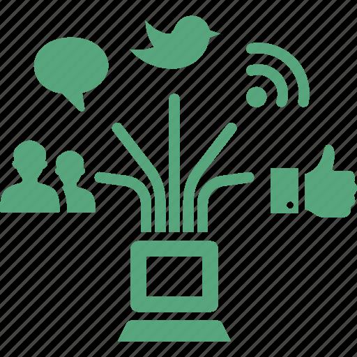 blogging, connection, internet marketing, network, seo, social media icon