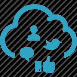 blogging, cloud computing, communication, internet marketing, social media cloud icon