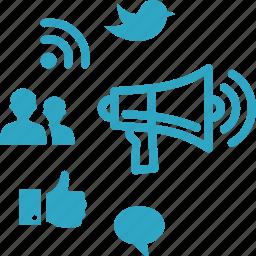 advertising, communication, internet marketing, online marketing, social media icon