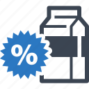advertising, discount, juice, milk, sale, sticker icon