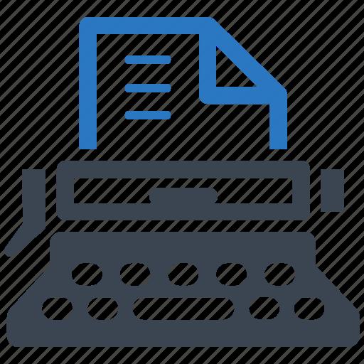 article, typewriter, web content, writing icon