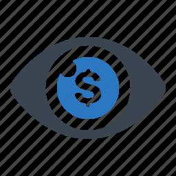 advertising, cost per impression, eye, seo icon