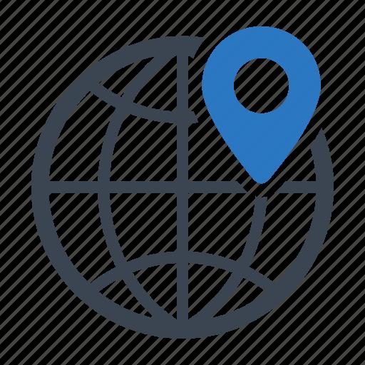geo, global, location, navigation, pin, targeting icon