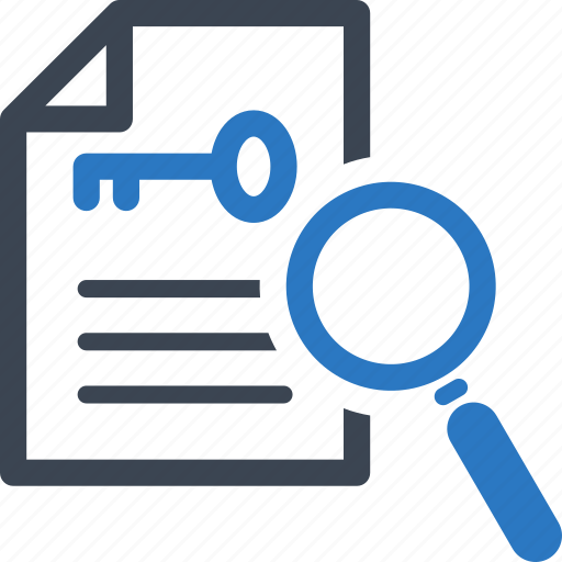 file, keyword, magnifying glass icon
