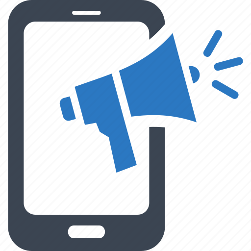 Marketing, megaphone, mobile advertising, smartphone icon ...