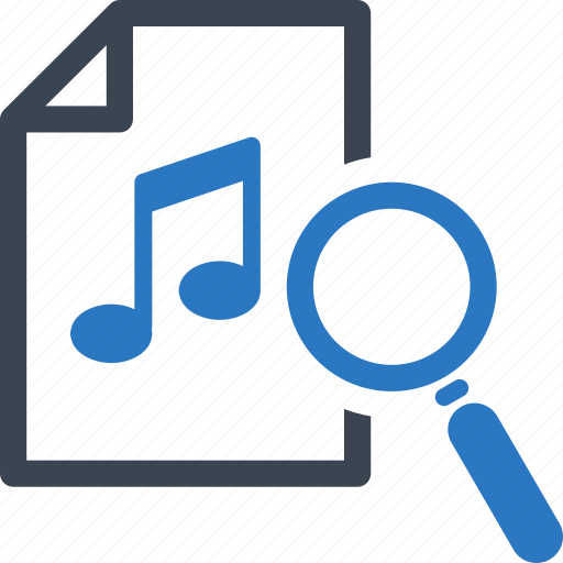 find music, magnifying glass, musical note, search music icon