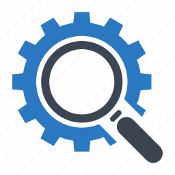 gear, magnifying glass, optimization, search engine, seo icon