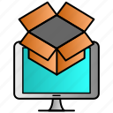 box, data, dropbox, marketing, online, pack icon