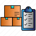 box, checklist, export, managment, package, report icon