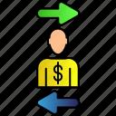 exchange, human, man, money icon