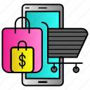 dollar, online, shop, shopping, smartphone icon