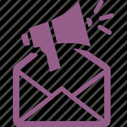advertising, email marketing, internet marketing, megaphone, promoting, seo icon