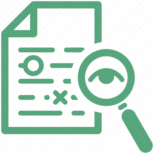 file, magnifier, magnifying glass, proofreading, research, search, text icon