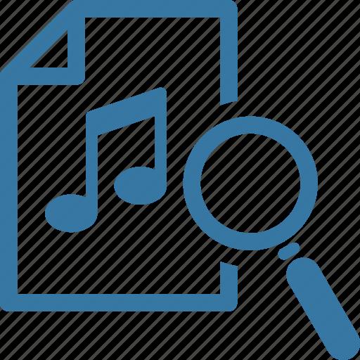 file, magnifier, music search icon