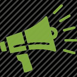 bullhorn, communication, internet marketing, megaphone, online advertising, promoting, viral marketing icon