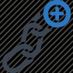 chain, hyperlink, inbound link, linked, seo icon