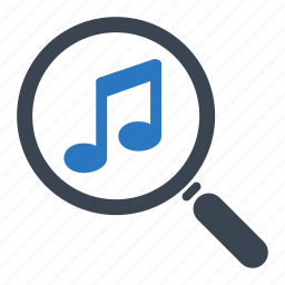 find, magnifier, musical note, search music icon