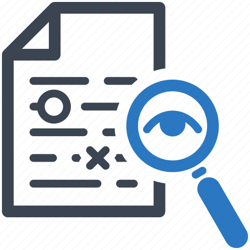 document, file, magnifying glass, proofreading icon