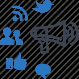 advertising, communication, marketing, networking, social media icon