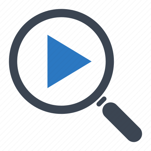 magnifier, magnifying glass, search video icon