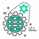 business, cog, development, marketing, setting, settings, world icon
