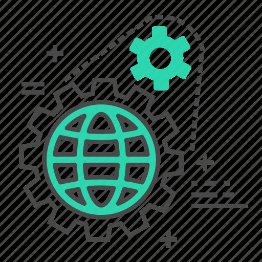 business, cog, development, marketing, setting, settings, world icon
