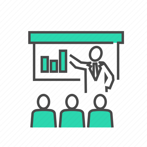business, marketing, meeting, person, presentation, seo, statistics icon