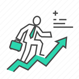 business, chart, growth, increase, man, profit, success icon