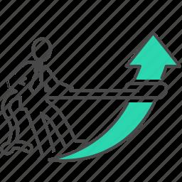 analytics, arrow, business, grow, growth, help, marketing icon