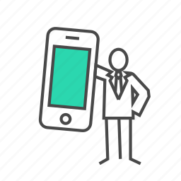 business man, call, contact, marketing, mobile, phone icon