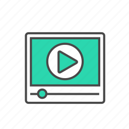 clip, embedded, internet, player, video, youtube icon