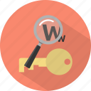 key, keyword, research, search, seo icon