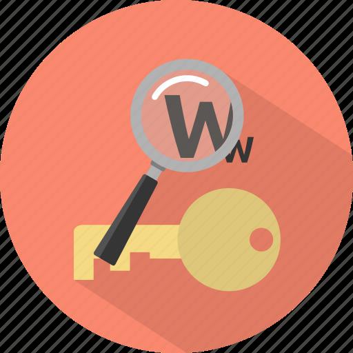 key, keyword, research, search, seo icon