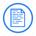 blue, bold, document, file, page, text, type icon