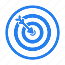 aim, arrow, bold, goal, line, marketing, seo icon