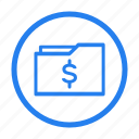 bold, dollar, file, folder, marketing, money, portfolio icon