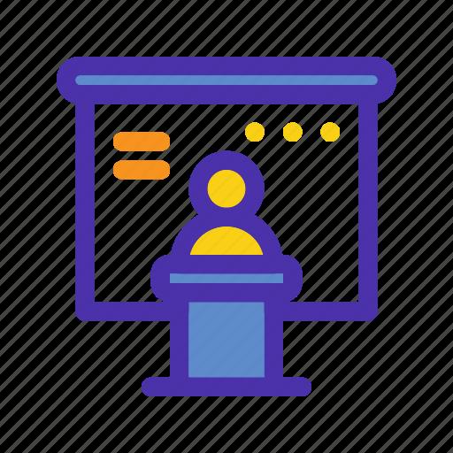 marketing, meeting, people, presentation, seo, training, website icon