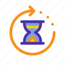 hourglass, loading, marketing, seo, time, waiting, website icon