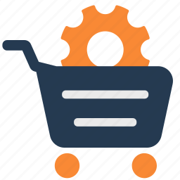 cart, ecommerce, gear, settings, shopping cart icon