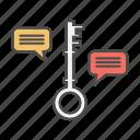 chat, data, key, keywords, seo, technology icon