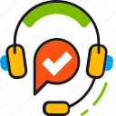 customer, headphones, help, information, service, support, technical icon