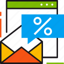 discount, ecommerce, envelope, message, online, sale, shopping icon