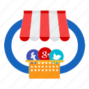 facebook, google, marketing, media, seo, social, twitter icon