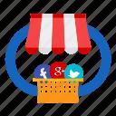 facebook, google, marketing, media, seo, social, twitter icon