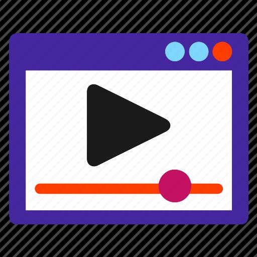 marketing, media, play, player, seo, video, web icon