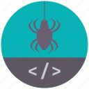 bug, code, protect, secure, security, web, web design icon