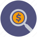 banking, financial, find, money, payment, search, zoom icon
