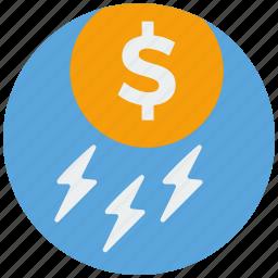 bank, cash, dollar, finance, money, payment, rain icon