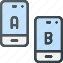 ab, app, comparing, mobile, split, test, testing icon